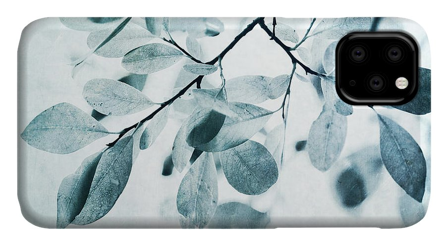 Foliage IPhone Case featuring the photograph Leaves In Dusty Blue by Priska Wettstein