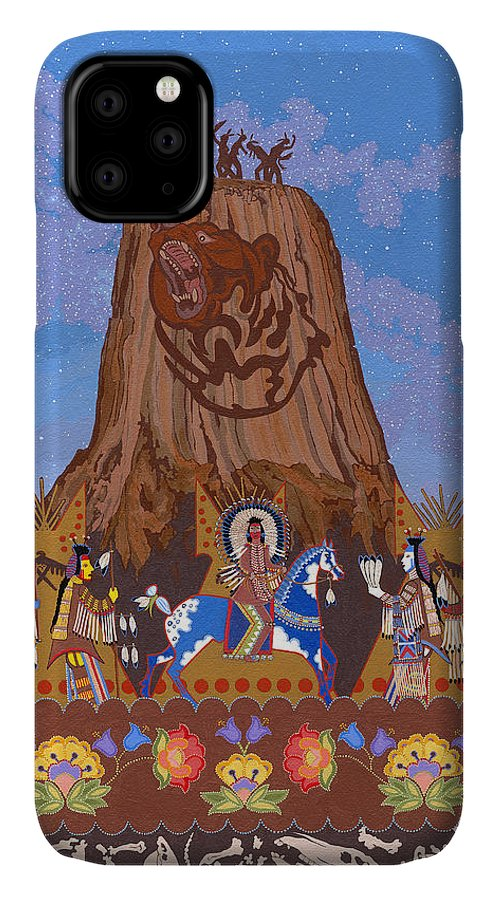 America IPhone Case featuring the painting Legend Of Bear's Tipi by Chholing Taha