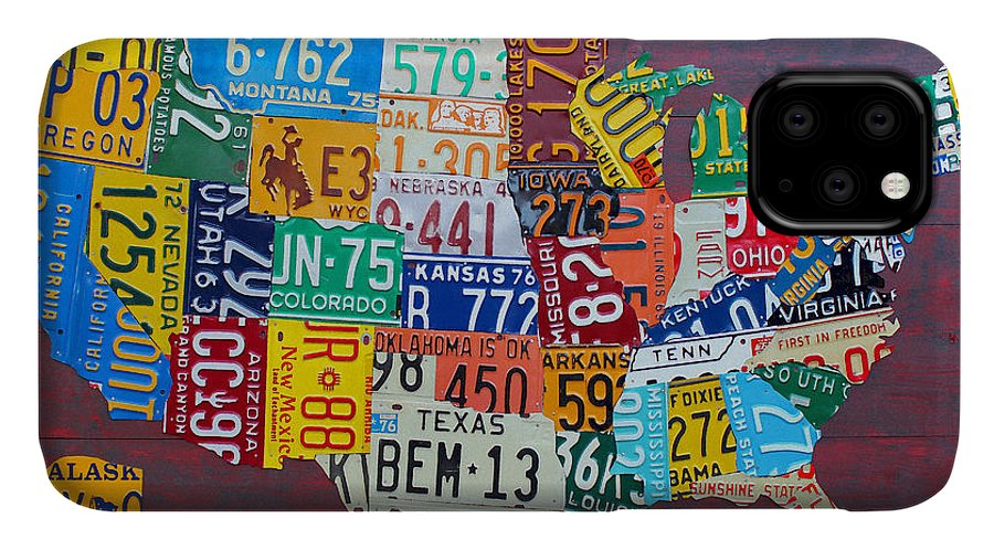 Art IPhone Case featuring the mixed media License Plate Map of The United States by Design Turnpike