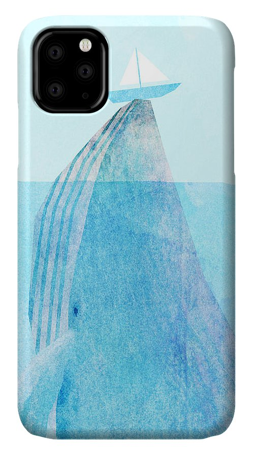 Whale IPhone Case featuring the drawing Lift by Eric Fan