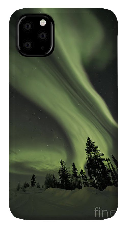 Aurora Borealis IPhone Case featuring the photograph Light Swirls Over The Midnight Dome by Priska Wettstein