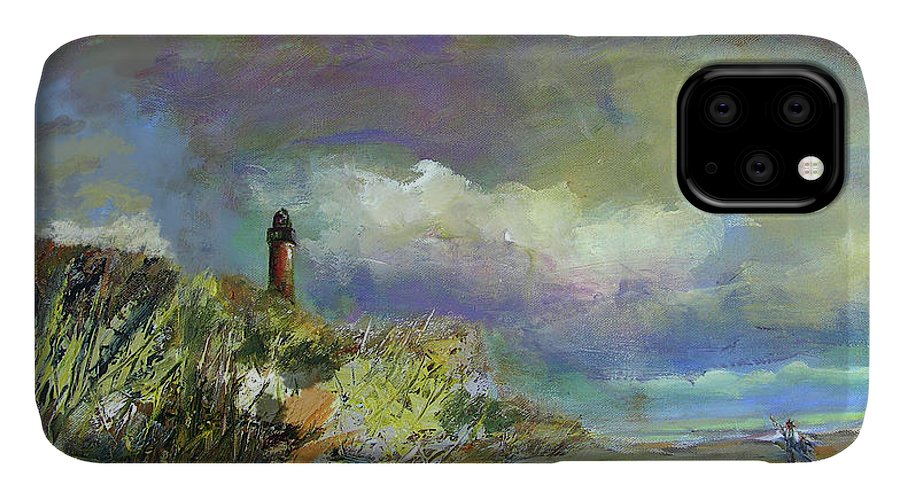 Art IPhone Case featuring the painting Lighthouse And Fisherman by Julianne Felton