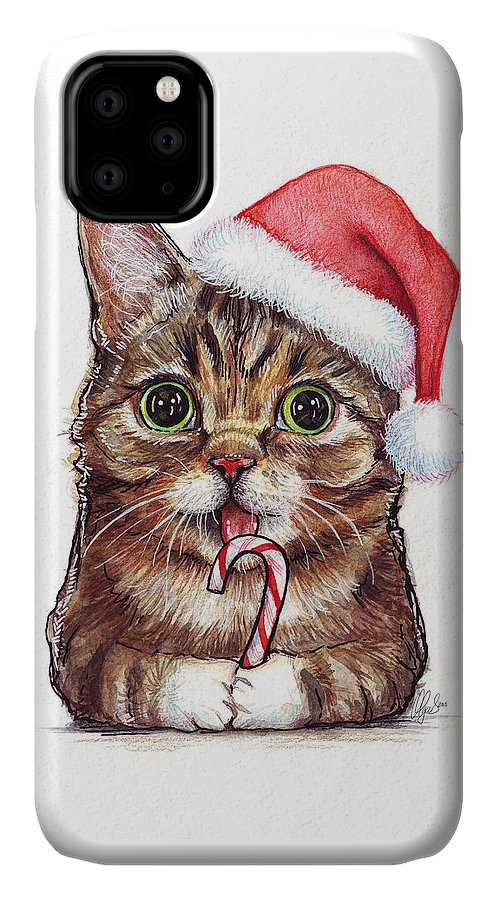 Lil Bub IPhone 11 Case featuring the painting Cat Santa Christmas Animal by Olga Shvartsur