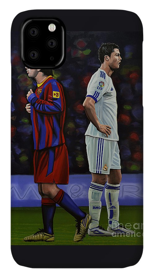 Lionel Messi IPhone Case featuring the painting Lionel Messi and Cristiano Ronaldo by Paul Meijering