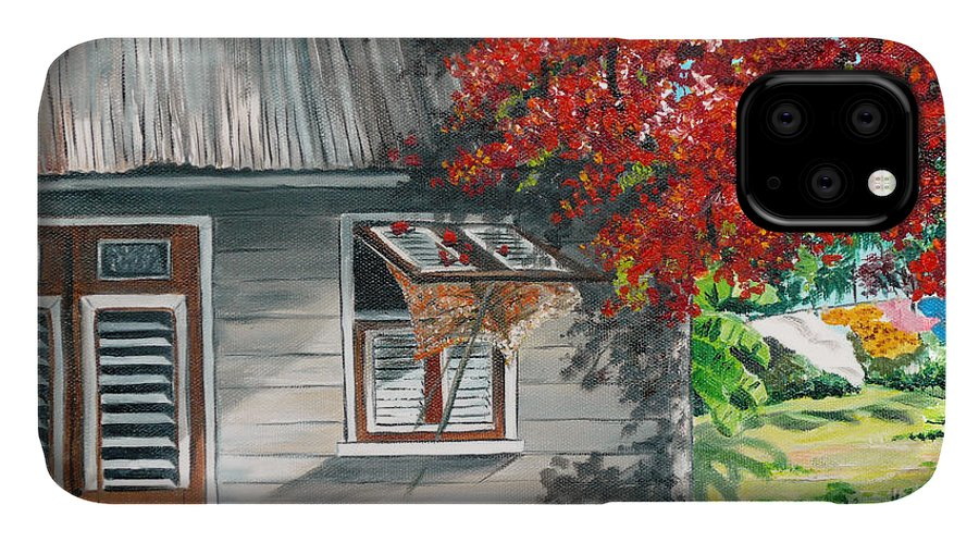 Caribbean Painting Typical Country House In The Caribbean Or West Indian Islands With Flamboyant Tree Tropical Painting IPhone Case featuring the painting Little West Indian House 1 by Karin Dawn Kelshall- Best