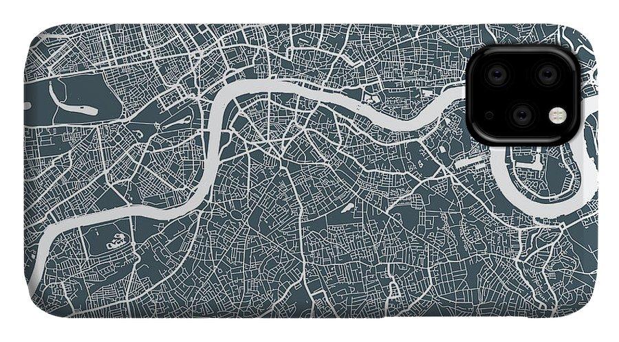 Art IPhone Case featuring the digital art London City Map by Mattjeacock