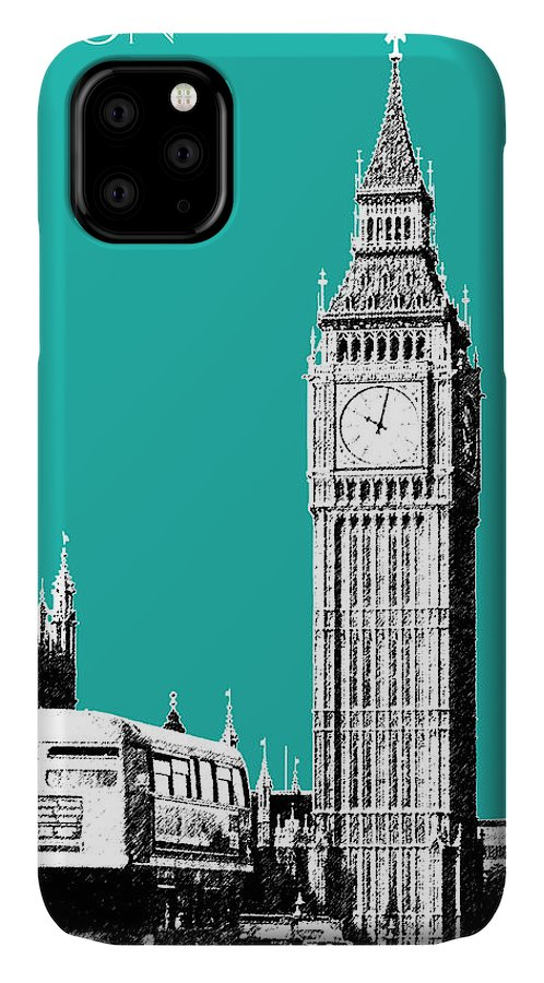 Architecture IPhone 11 Case featuring the digital art London Skyline Big Ben - Teal by DB Artist