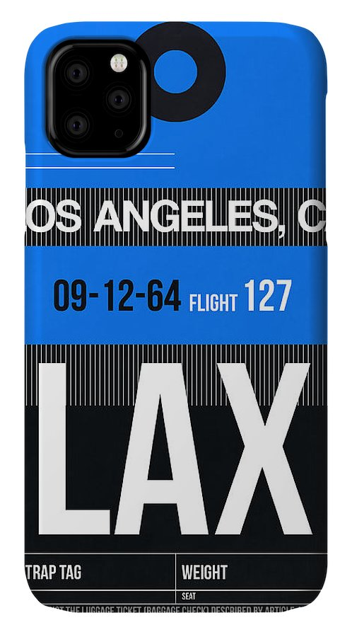 IPhone 11 Case featuring the digital art Los Angeles Luggage Poster 3 by Naxart Studio