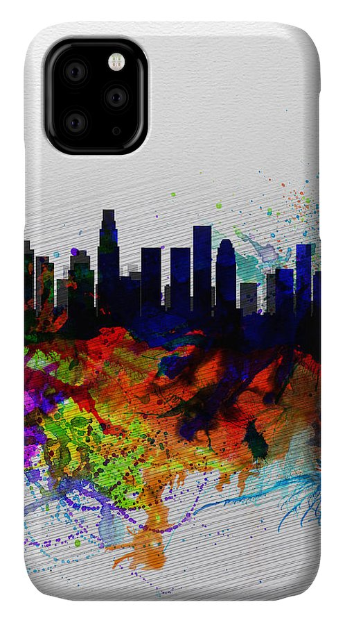 Los Angeles IPhone 11 Case featuring the painting Los Angeles Watercolor Skyline 2 by Naxart Studio