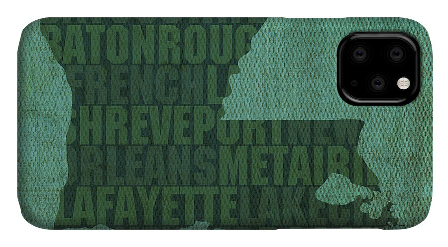 Louisiana Word Art State Map On Canvas IPhone Case featuring the mixed media Louisiana Word Art State Map On Canvas by Design Turnpike