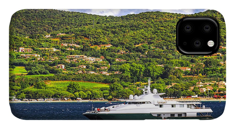 Yacht IPhone 11 Case featuring the photograph Luxury Yacht At The Coast Of French Riviera by Elena Elisseeva