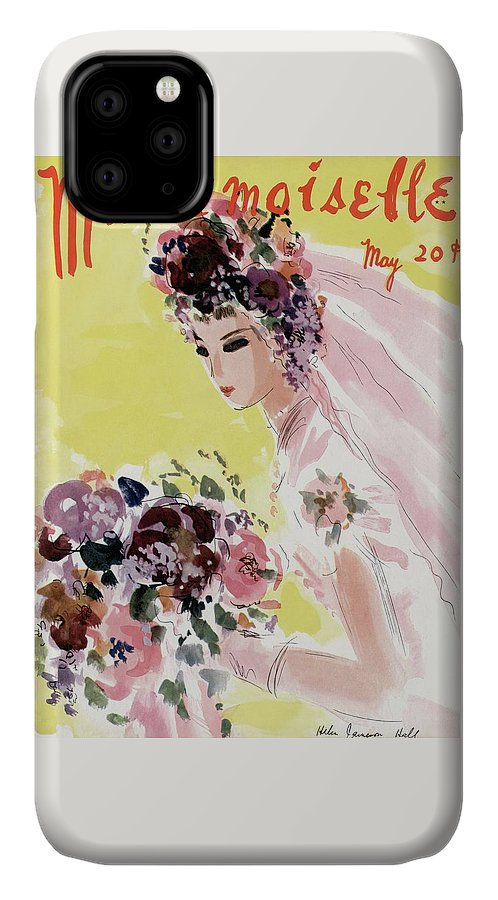 Illustration IPhone Case featuring the photograph Mademoiselle Cover Featuring A Bride by Helen Jameson Hall