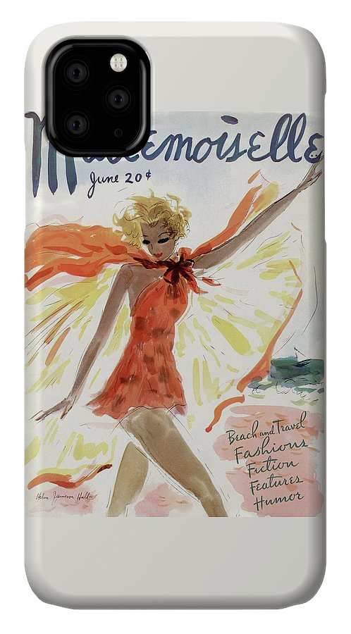Illustration IPhone Case featuring the painting Mademoiselle Cover Featuring A Model At The Beach by Helen Jameson Hall