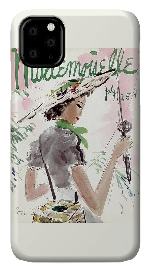 Illustration IPhone Case featuring the photograph Mademoiselle Cover Featuring A Woman Holding by Helen Jameson Hall