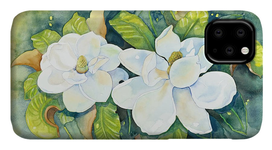 Flowers IPhone Case featuring the painting Magnolias by Cathy Locke