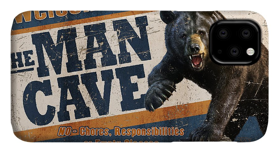 Jeff Wack IPhone 11 Case featuring the painting Man Cave Balck Bear by JQ Licensing