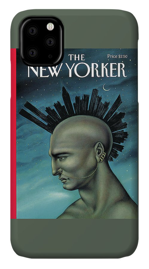 Mohawk IPhone Case featuring the painting Mohawk Manhattan by Anita Kunz