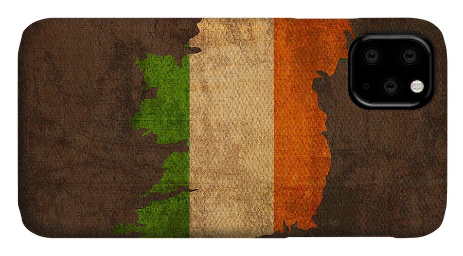 Map Of Ireland With Flag Art On Distressed Worn Canvas IPhone Case featuring the mixed media Map Of Ireland With Flag Art On Distressed Worn Canvas by Design Turnpike