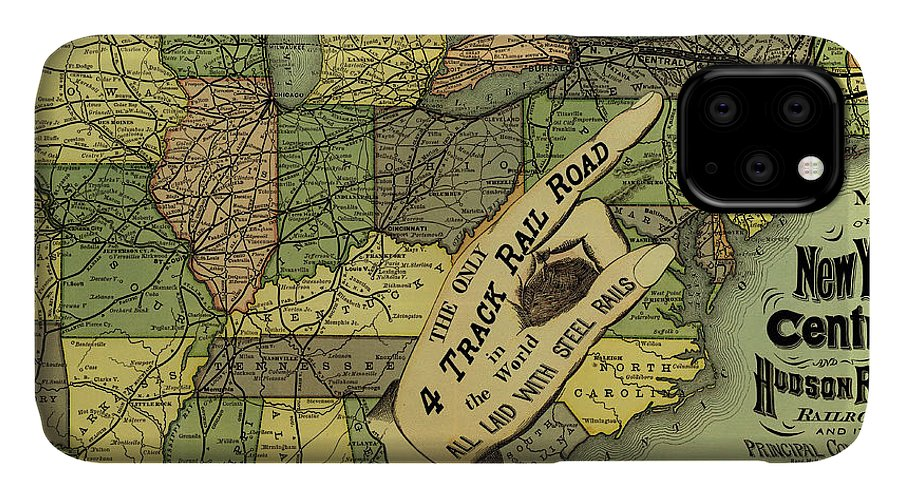 Map IPhone Case featuring the drawing Map Of New York Central And Hudson River Railroad Routes 1876 by Mountain Dreams