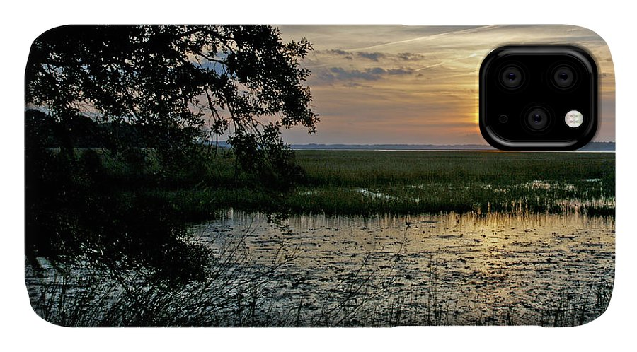 Sunrise IPhone 11 Case featuring the photograph Marsh View by Phill Doherty