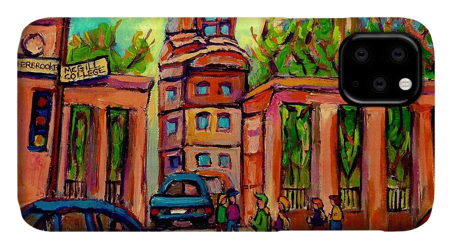Mcgill University IPhone Case featuring the painting Mcgill University Roddick Gates Montreal by Carole Spandau