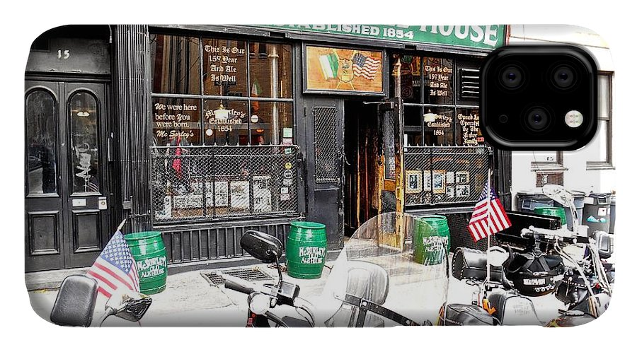 New York Oldest Irish Bar. American Flag IPhone Case featuring the photograph Mcsorley's Old Ale House by Joan Reese