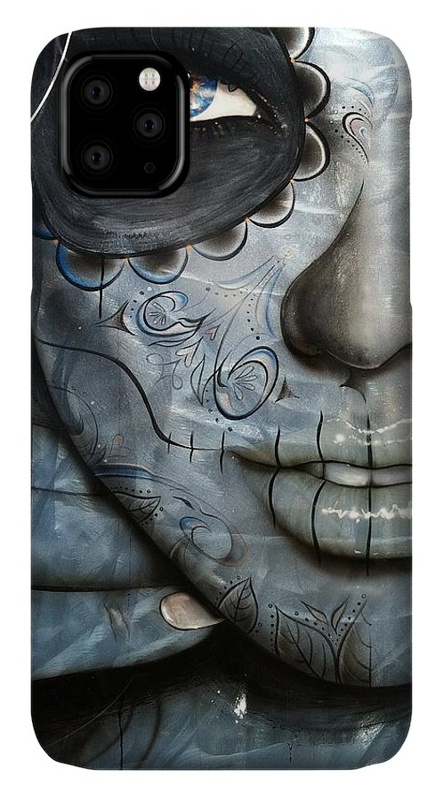 Face Tattoo IPhone Case featuring the painting Metallic Messiah by Christian Chapman Art