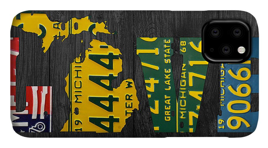 Michigan IPhone 11 Case featuring the photograph Michigan Love Recycled Vintage License Plate Art State Shape Lettering Phrase by Design Turnpike