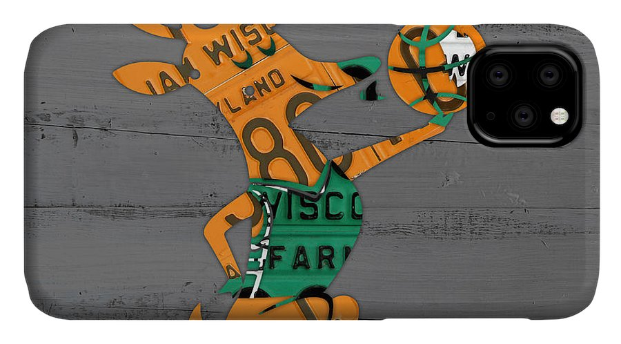 Milwaukee IPhone 11 Case featuring the mixed media Milwaukee Bucks Basketball Team Logo Vintage Recycled Wisconsin License Plate Art by Design Turnpike