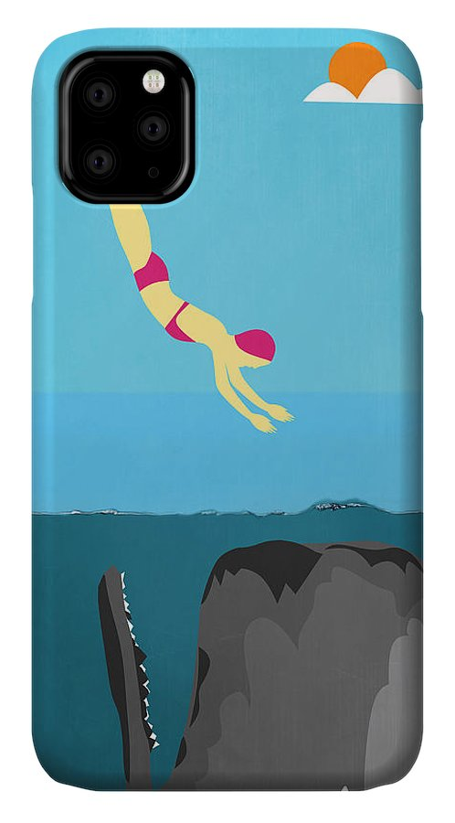 Minimal IPhone Case featuring the digital art Minimal Sea Life by Mark Ashkenazi