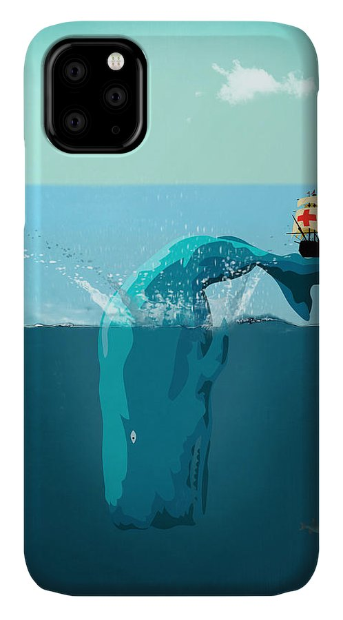 Moby Dick IPhone Case featuring the digital art Moby Dick by Mark Ashkenazi