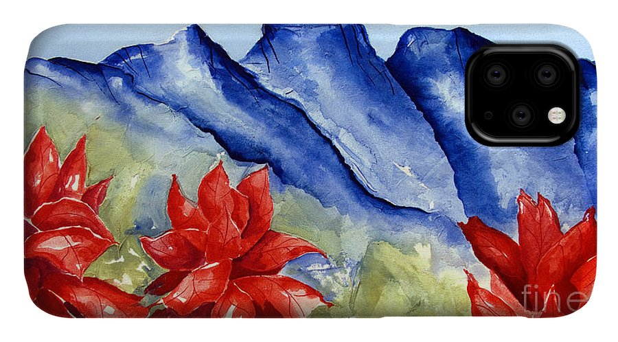 Mountains IPhone Case featuring the painting Monterrey Mountains with Red Floral by Kandyce Waltensperger