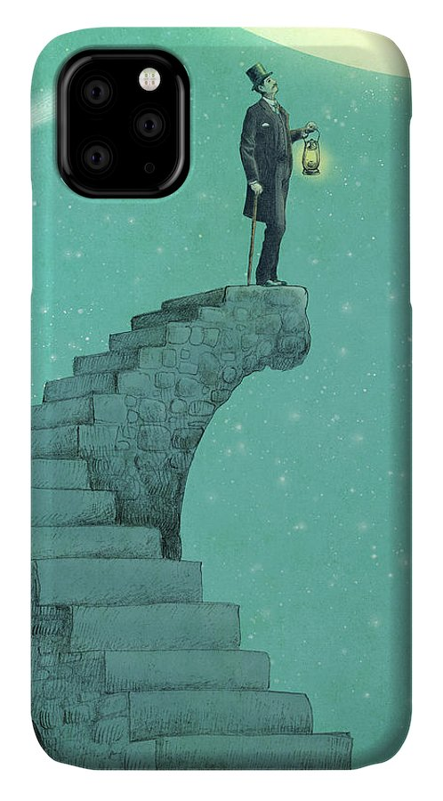 Moon IPhone 11 Case featuring the drawing Moon Steps by Eric Fan