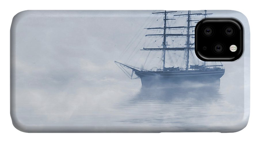 Sailing Ship IPhone 11 Case featuring the painting Morning Mists Cyanotype by John Edwards