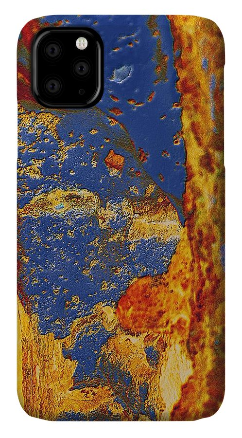 Abstract IPhone Case featuring the photograph Mortal Bleu Flambe by Laureen Murtha Menzl