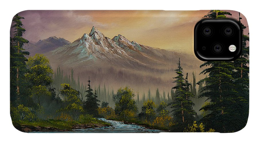 Landscape IPhone 11 Case featuring the painting Mountain Sunset by Chris Steele