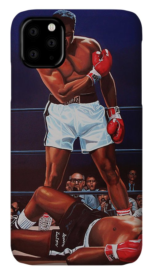 Mohammed Ali Versus Sonny Liston IPhone Case featuring the painting Muhammad Ali versus Sonny Liston by Paul Meijering