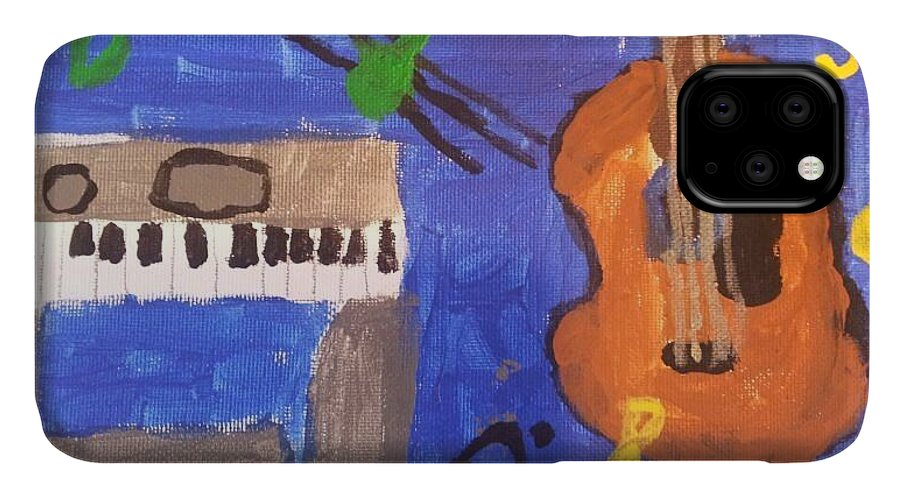 Guitar IPhone 11 Case featuring the painting My Musical World by Epic Luis Art