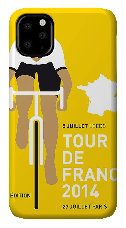 Minimal IPhone Case featuring the digital art My Tour De France Minimal Poster 2014 by Chungkong Art