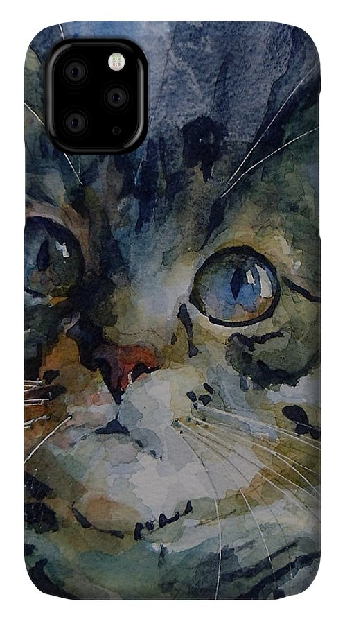 Tabby IPhone Case featuring the painting Mystery Tabby by Paul Lovering