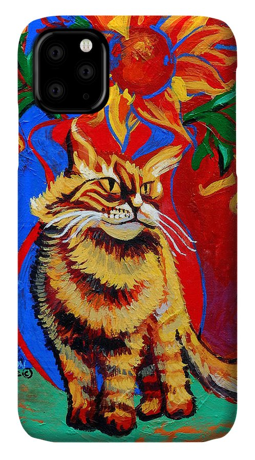 Cat IPhone Case featuring the painting Natasha by Genevieve Esson