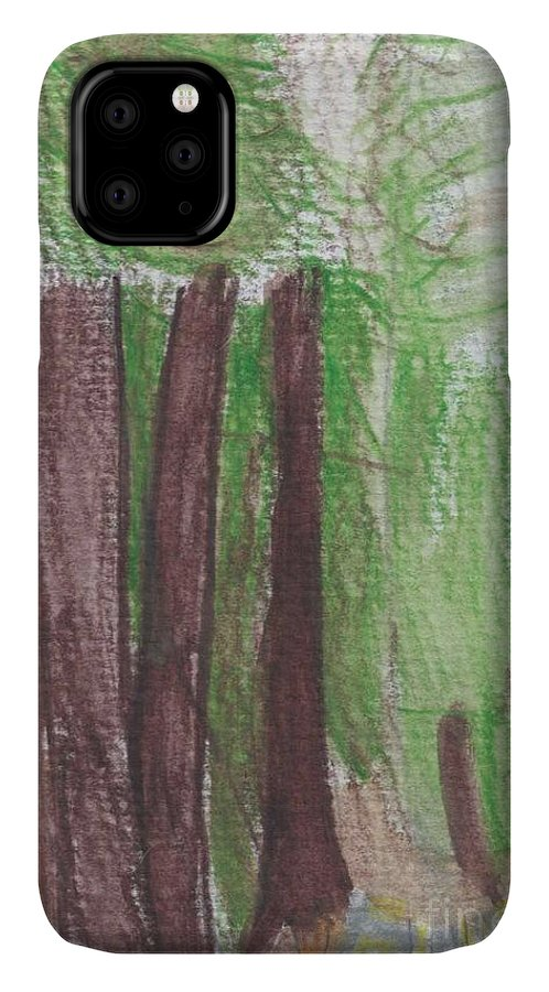 National Forest Paint IPhone 11 Case featuring the painting National Forest by Epic Luis Art