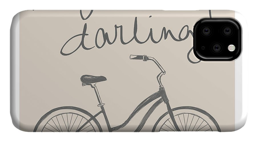 Neutral IPhone 11 Case featuring the mixed media Neutral Glam Bike by South Social Studio