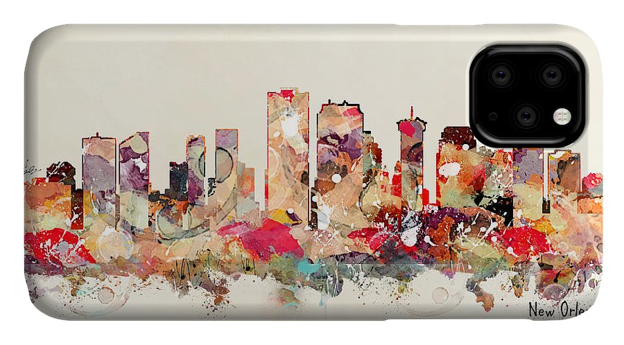 New Orleans Skyline IPhone Case featuring the painting New Orleans Louisiana by Bri Buckley