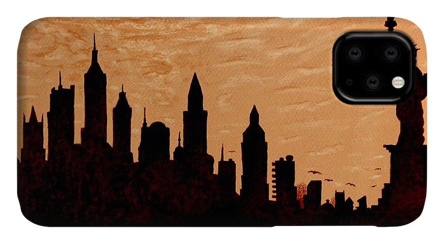 New York City IPhone Case featuring the painting New York City Sunset Silhouette by Georgeta Blanaru
