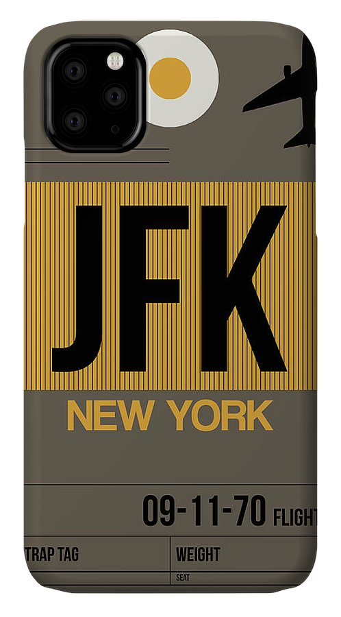 New York IPhone 11 Case featuring the digital art New York Luggage Tag Poster 3 by Naxart Studio