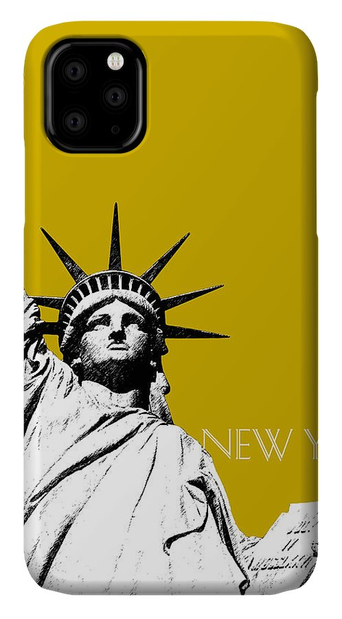 Architecture IPhone 11 Case featuring the digital art New York Skyline Statue Of Liberty - Gold by DB Artist