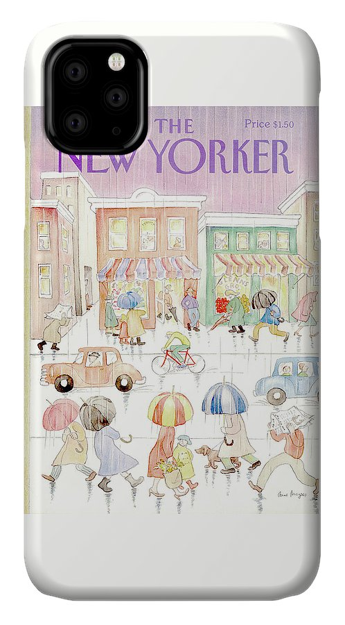 Rain IPhone Case featuring the painting New Yorker April 16th, 1984 by Anne Burgess