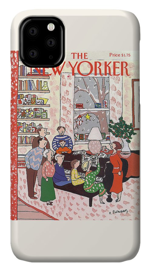 (a Family Gathers Around A Piano As They Sing Christmas Carols.) Entertainment IPhone Case featuring the painting New Yorker December 10th, 1990 by Devera Ehrenberg