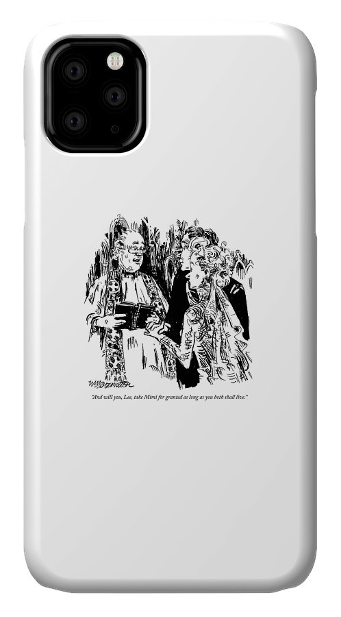 Weddings - Ceremonies IPhone Case featuring the drawing New Yorker December 20th, 1999 by William Hamilton